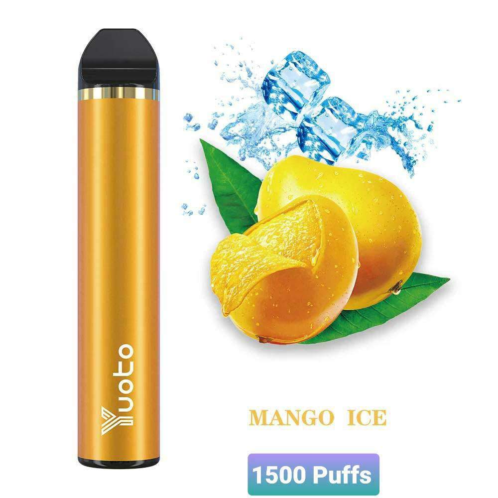 YUOTO DISPOSABLE VAPE  PODS STARTER KIT 900MAH 1500 PUFFS - MANGO ICE