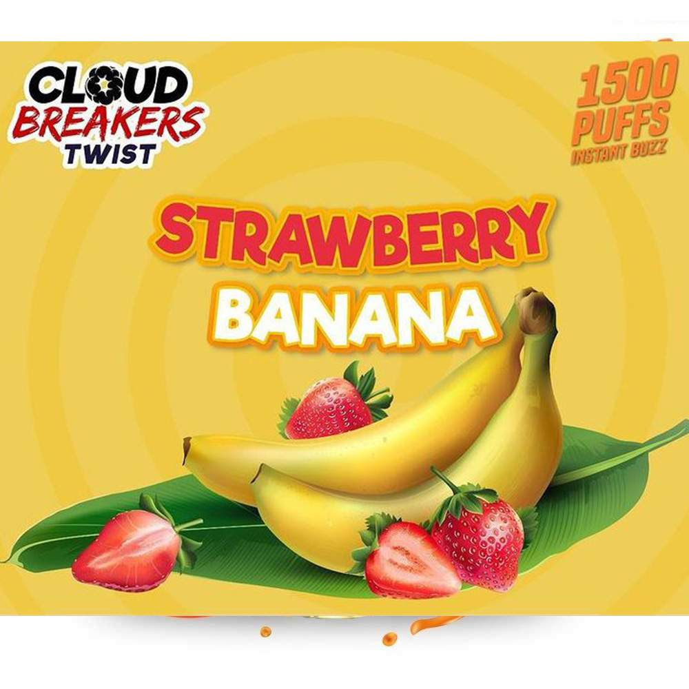 CLOUD BREAKERS TWIST DISPOSABLE DEVICE FLAVOR STRAWBERRY BANANA – 1500 PUFFS
