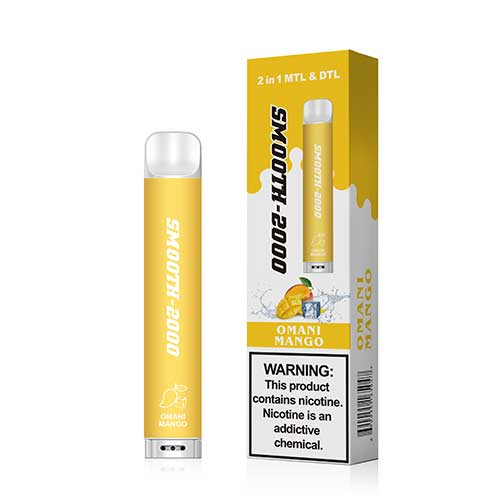 Smooth-2000 – Disposable E-cigarette Omani Mango (2000 MTL Puffs / 1 Pc Pack)