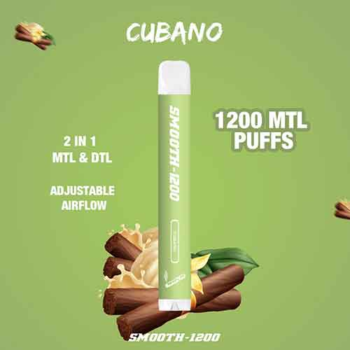 Smooth-1200 - (Cubano - 2 in 1 MTL & DTL 1200 MTL Puffs - Pack in 1 Piece)