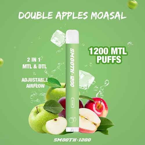 Smooth-1200 - (Double Apple Mousal - 2 in 1 MTL & DTL 1200 MTL Puffs - Pack in 1 Piece)