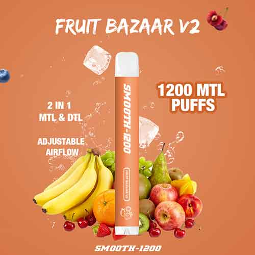 Smooth-1200 - (Fruits Bazaar V2 - 2 in 1 MTL & DTL 1200 MTL Puffs - Pack in 1 Piece)