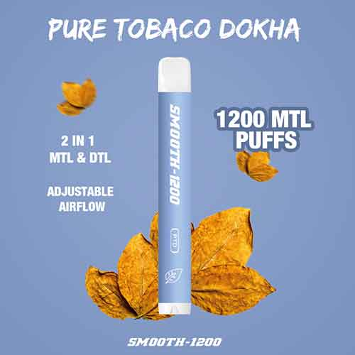 Smooth-1200 - (Pure Tobacco - 2 in 1 MTL & DTL 1200 MTL Puffs - Pack in 1 Piece)