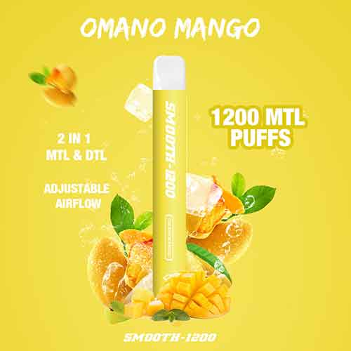 Smooth-1200 - (Omani Mango - 2 in 1 MTL & DTL 1200 MTL Puffs - Pack in 1 Piece)