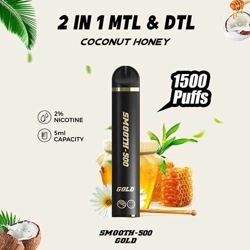 Smooth-500 Gold Flavor - Coconut Honey (1500 MTL Puffs)