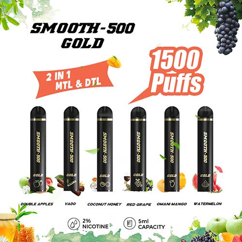 Smooth-500 Gold Flavor - Double Apple (1500 MTL Puffs)